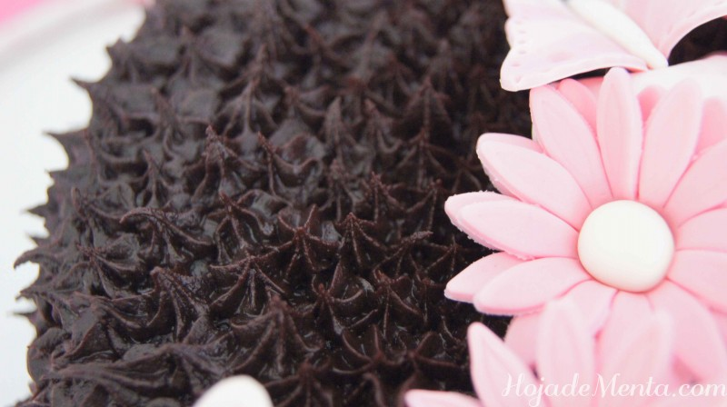 Bizcocho de chocolate y mariposas