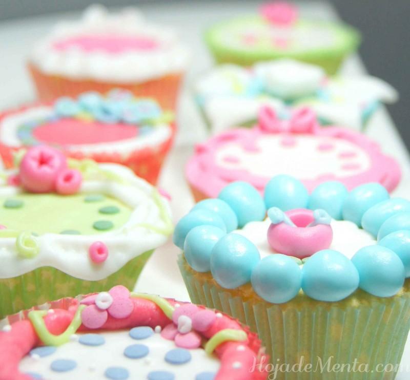 Cupcakes de chocolate blanco con fondant para HojadeMenta