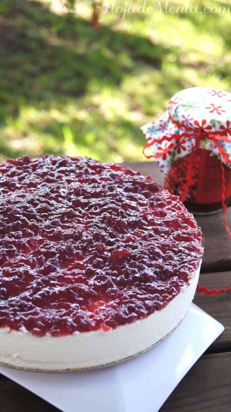 Tarta de queso con arandanos para HojadeMenta