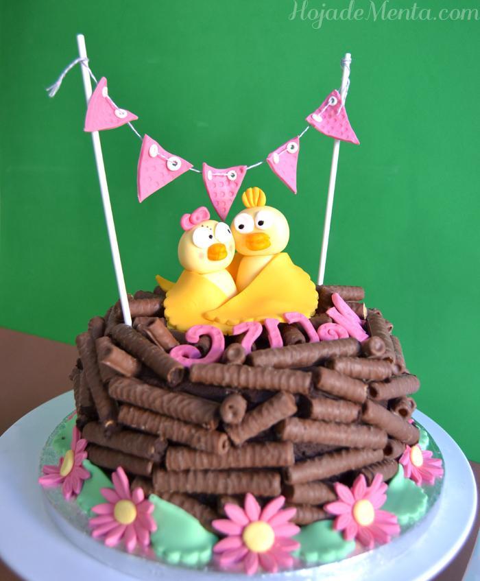 Tarta nido de chocolate y fondant para HojadeMenta